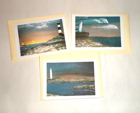 Lighthouse Note Cards - Blank Note Card Set with Envelopes - Beach Note Cards - Lighthouse Cards - Ocean Note Cards