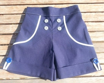Tween Girls Navy Blue and White Sailor Shorts