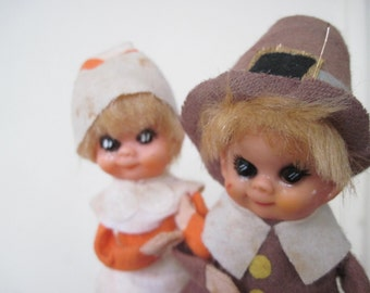 Creepy Pilgrims - vintage 1970s TERRIFYING THANKSGIVING Zombie Dolls
