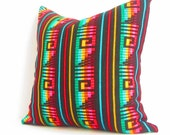 Black Pillow, Tribal Pillows Covers, Colorful Pillow Covers, Bohemian Decor, Boho Bedding, Mexican Cushion, Square, tribal pillowcase