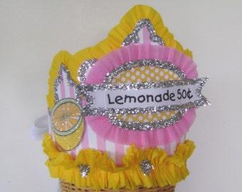 Lemonade stand hat, lemonade crown, lemon crown, lemon party hat,  Lemonade 50c  or customize - Adult or Child