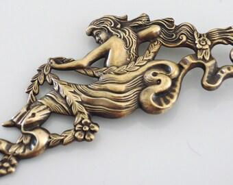 Mermaid Jewelry - Vintage Brooch - Art Nouveau jewelry - Statement Jewelry - Mermaid Brooch - Vintage Brass jewelry - handmade jewelry