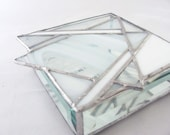 White on White Hand Crafted Stained Glass Jewelry Box with Abstract Star of David