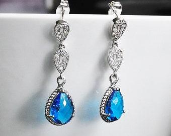 Blue Bridal stud post White Gold cubic Zirconia Drop Bezel Set Earrings, Royal blue Dangles,Bridesmaids Earrings, Bridal Wedding Jewelry,