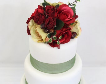 Fall Inspired Wedding Cake Topper, Red, Yellow Rose, Silk Flower Wedding Cake Topper, Wedding Cake Flowers, Fall Cake Topper