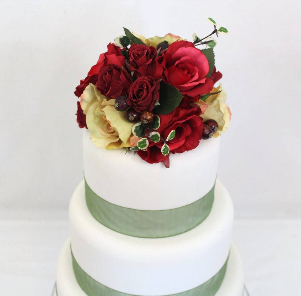 wedding cake toppers red roses fall inspired wedding cake topper yellow silk 26588