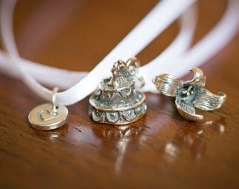 traditional southern cake pulls. set of nine sterling silver wedding cake charms by kellylynndesigns on etsy.com