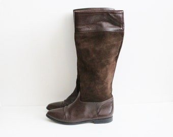 Vintage 80s Riding Boots by Nina - Brown 2 Tone Leather - Women 7B