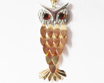 Vintage 70s Gold and Silver Owl Necklace with Amber Eyes - Articulated Feathers
