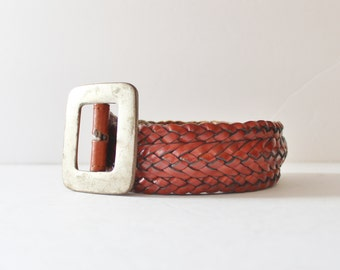 Vintage 80s Wide Woven Leather Belt - Medium Women - Timberland