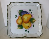 Large Handpainted Square Platter, Made in Italy,  Bunch of Spring Pears,  Vintage,  Home Decor,  #4043