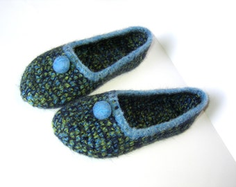 Felted slippers Slippers for Women Blue Navy Yellow Green Melange