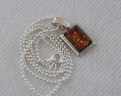 Vintage Rectangular Framed Amber Pendant Sterling Silver Ball Chain Necklace  …..3176