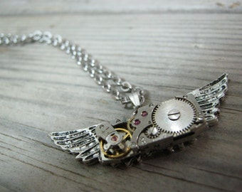 Owl Wings Winged Steampunk Necklace - Real watch gears - watch movement Necklace - Watch Gear Necklace-Steampunk Gears - Gothic Necklace