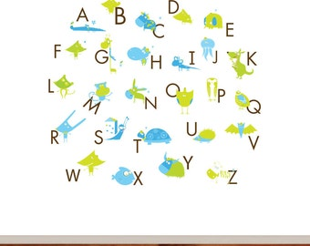 Alphabet Vinyl Wall Decal Letters with Animals Decal Set