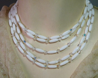 Vintage Milkglass Crystal Necklace