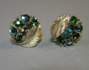 Vintage Lisner Emerald Leaf Earrings