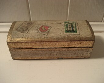 wooden Italian Florentine gold stamp box