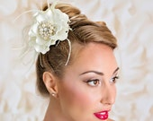Bridal Hair Accessory Flower Hair Clip Floral Fascinator Ivory Flower Hairpiece