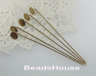 20% OFF - 100  pcs Antique Brass Plated Stick- Pin With 8mm Pad -Nickel Free.