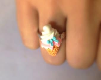 Blue bow ice cream cone, miniature food adjustable ring, kawaii, sweet, gelato, helado, bague,