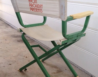 Mid Century METAL Director's Chair in Summer Green Paint AVON Chair at Modern Logic
