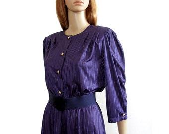 Vintage 1980s Dress Navy Blue Semi Sheer Shirtwaist Dress / M to L