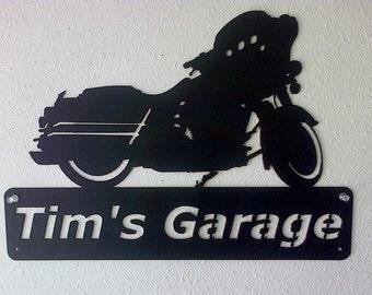 Harley Motorcycle Personalized Man Cave Garage Sign Satin Black