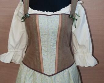 Hobbit Style Embroidered Corset, Bodice, Renaissance LOTR inspired, custom made.