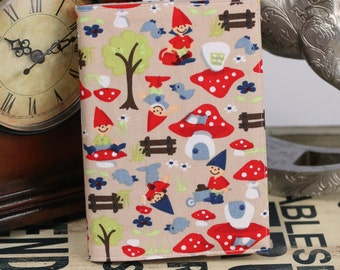 Gnomes and toadstools A6 80 page notebook cover.