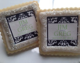Black Damask lime green accent wedding favor cookies