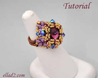 Beading Tutorial Ring Grand Anse - Beading Pattern, Instant download, PDF