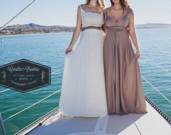 Newport Coast Mocha- Silky Satin Jersey-Octopus Convertible Infinity Wrap Dress
