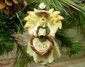 Angel of Faith Ornament, Hand Sculpted Clay Angel Ornament