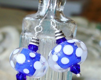 Boro Glass Lampwork Earring Polka Dots - Blue and White - One of a Kind - Lampwork    C 1-8
