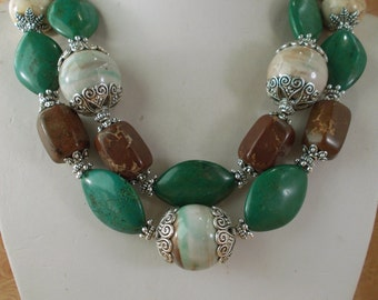 Cowgirl Necklace Set - Chunky Green - Brown and White Howlite Turquoise with Ceramic Focals