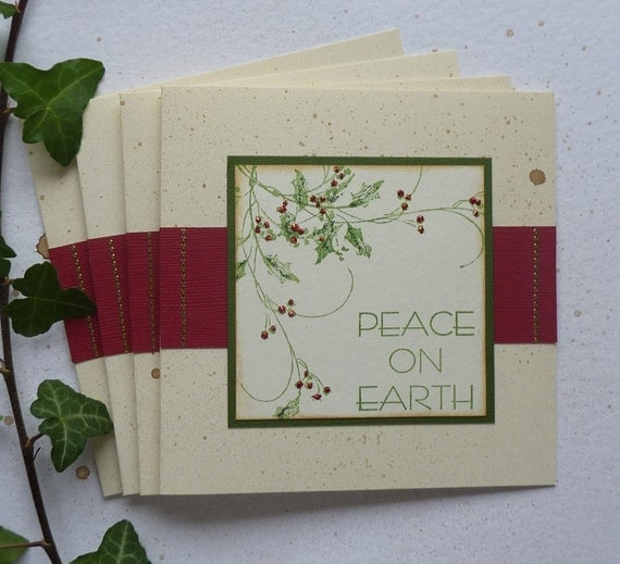 CHRISTMAS  CARDS  'Peace on Earth ' (pack of 4).Holly. UK seller ... Ready to ship......