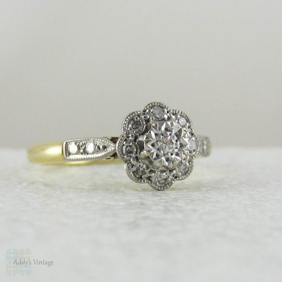 Deco Diamond Daisy Engagement Ring Flower Shaped Diamond Cluster Ring