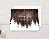 Winter Wedding Thank You Cards Rustic Wood