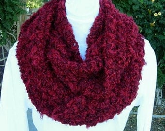READY TO SHIP Infinity Loop Scarf Cowl Dark Wine Red Multicolor Fluffy Soft Warm Bulky Chunky Thick Acrylic Crochet Knit Winter Circle