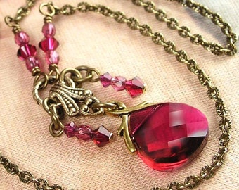 Dark Pink Crystal Necklace Antique Gold Brass Necklace Pink Ruby Swarovski Crystal Pink Pendant Necklace Pink Ruby Necklace