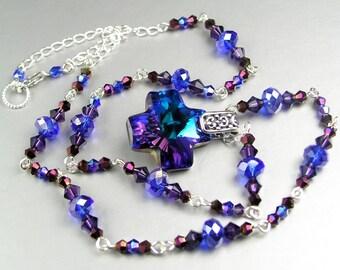 Blue Purple Necklace Sterling Silver Swarovski Crystal Cross Pendant Necklace Cobalt Blue Iris Purple