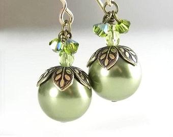 Green Pearl Earrings Swarovski Green Crystal Pearl Dangle Earrings Antique Gold Leaf Earrings Forest Berry