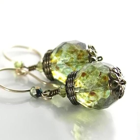 Moss Green Earrings 14K Gold Fill Hook Earrings Bohemian Glass Green Dangle Earrings Olive Green Earrings Green Bead Drop Earrings