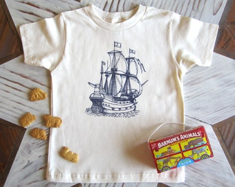 Kids Tshirt - Organic Cotton Toddler Shirt - American Apparel Kids Shirt - Screenprint Tshirt - Nautical Ship - Toddler Tee - Kids Clothes