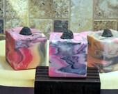 BLACK RASPERRY VANILLA Handmade Cold Process Soap with Jojoba, Hemp, Argan, Wheatgerm,  Silk, Shea, Cocoa and Mango Butters