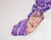 Ruffle Stretch Fabric Wrap Lavender and Purple Striped Newborn Photography Prop Posing Layer