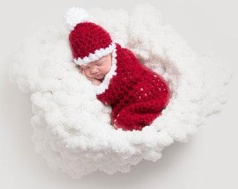 Santa Cocoon Hat Set Red White