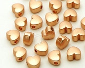 ME-164-RG / 4 Pcs - Tiny Chubby Heart Bead Centerpiece, Matte Rose Gold Plated over Brass / 5.5mm x 4.8mm