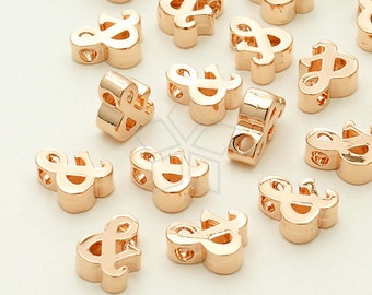IN-286-RG / 2 Pcs - Initial Tiny Pendant, Ampersand (&), Rose Gold Plated over Brass / 5mm x 7mm